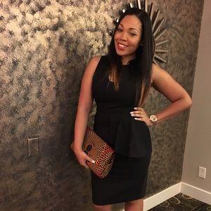 Black, side peplum dress